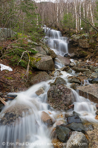 A seasonal waterfall in an old landslide path on the western flank of Mount Lafayette in Franconia Notch, New Hampshire during the spring months. This landslide slide in 1948 and again in 1959, and buried the old Route 3 both times.