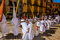 Children in a procession on Palm Sunday of Holy Week (Semana Santa), Loja, Granada Province, Andalusia, Spain.