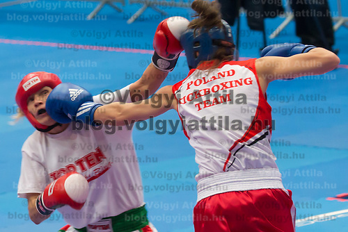 Gold medalist Nelly Hanicz (L) of Hungary and silver medalist Dorota Godzina (R) of Poland fight in the 3 KL 040 S F -55 kg final at the WAKO (World Association of Kickboxing Organizations) World Kick-boxing Championships in Budapest, Hungary on Nov. 10, 2017. ATTILA VOLGYI