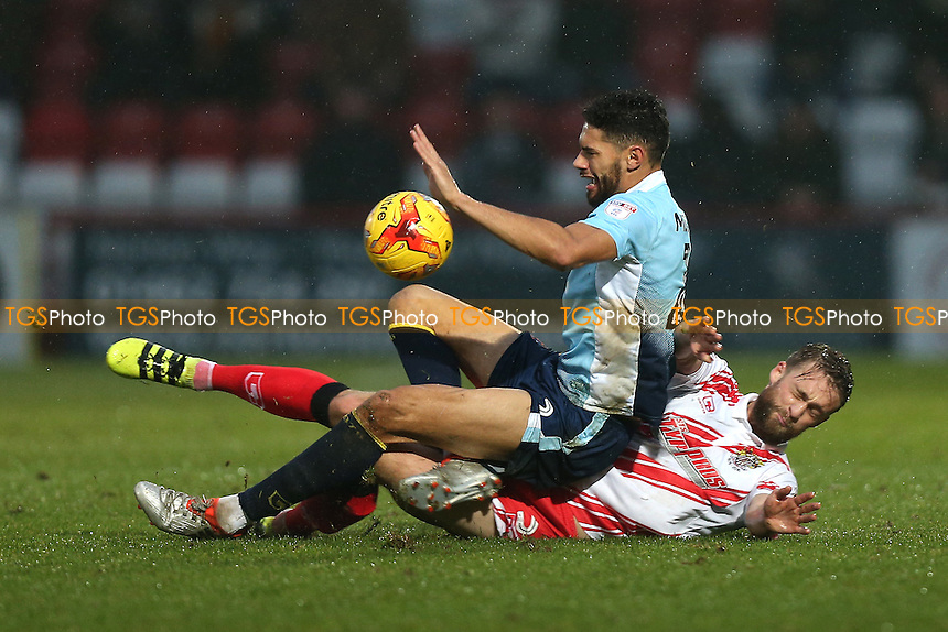 Kelvin Mellor of Blackpool and Fraser Franks of Stevenage during Stevenage vs Blackpool, Sky Bet EFL League 2 Football at the Lamex Stadium on 10th December 2016