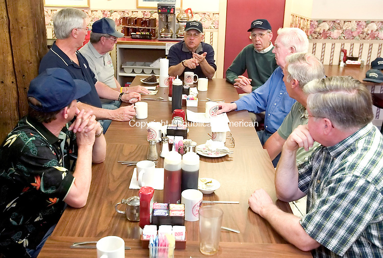 BANTAM, CT. 24 April 2007-042407SV05-- A group of retired administrators from Wamogo High School in Litchfield meet at Jackie's Restaurant in Bantam every Tuesday for breakfast. They call themselves the Weezer's Geezers, and were founded by now deceased principal Perry Cavarly.<br /> Steven Valenti Republican-American