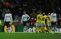 (L-R) Preston North End's Daniel Johnson, Alan Browne and Josh Earl look dejected after Leeds United's Patrick Bamford scores his side's second goal<br /> <br /> Photographer Kevin Barnes/CameraSport<br /> <br /> The EFL Sky Bet Championship - Preston North End v Leeds United -Tuesday 9th April 2019 - Deepdale Stadium - Preston<br /> <br /> World Copyright &copy; 2019 CameraSport. All rights reserved. 43 Linden Ave. Countesthorpe. Leicester. England. LE8 5PG - Tel: +44 (0) 116 277 4147 - admin@camerasport.com - www.camerasport.com