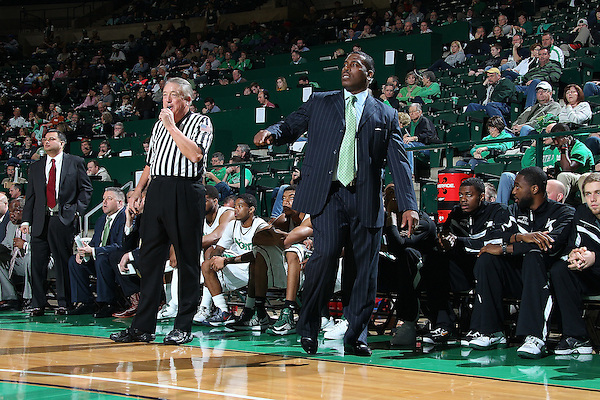 Denton, TX - FEBRUARY 9: Tony Benford head coach of the North Texas Mean Green reacts during the game against the Florida International Golden Panthers at the UNT Coliseum on February 9, 2013 in Denton, Texas. (Photo by Rick Yeatts)