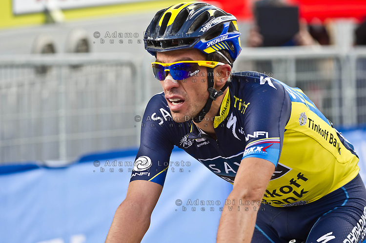 The 4th stage of Tirreno Adriatic from Narni to Prati di Tivo was won by Froome Christpher team Sky ProCycling on March 9, 2013. In the photo Alberto Contador Saxo. Photo Credit: Diloreto A.