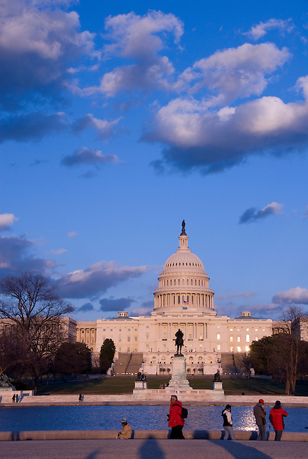 Washington D. C., Captiol Building, dramatic sky, pool in front, not released