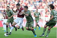 27th October 2019; Olympic Grande Torino Stadium, Turin, Piedmont, Italy; Serie A Football, Torino versus Cagliari; Fabio Pisacane of Cagliari challenges Andrea Belotti of Torino FC - Editorial Use