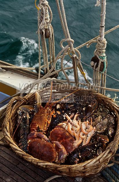 Europe/France/Bretagne/22/Côtes-d'Armor/Port-Blanc: Fruits de mer et crustacés sur le Vieux gréement: l'Ausqueme