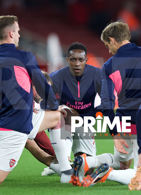 Danny Welbeck of Arsenal pre match during the UEFA Europa League match group between Arsenal and Vorskla Poltava at the Emirates Stadium, London, England on 20 September 2018. Photo by Andrew Aleksiejczuk / PRiME Media Images.