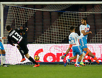 Mattia Caldara shoots and score during the  italian serie a soccer match,between SSC Napoli and Atalanta      at  the San  Paolo   stadium in Naples  Italy , February 26, 2017