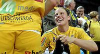 """1. Bundesliga Handball Damen - Frauen Handball BL DHB - Arena Leipzig - HC Leipzig : TSV Bayer 04 Leverkusen """"Handballelfen"""" - im Bild: Maike Daniels . Foto: Norman Rembarz..Norman Rembarz , Autorennummer 41043728 , Augustenstrt. 2, 04317 Leipzig, Tel.: 01794887569, Hypovereinsbank: BLZ: 86020086, KN: 357889472, St.Nr.: 231/261/06432 - Jegliche kommerzielle Nutzung ist honorar- und mehrwertsteuerpflichtig! Persönlichkeitsrechte sind zu wahren. Es wird keine Haftung übernommen bei Verletzung von Rechten Dritter. Autoren-Nennung gem. §13 UrhGes. wird verlangt. Weitergabe an Dritte nur nach  vorheriger Absprache.."""