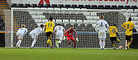 Pictured: Rushian Hepburn-Murphy of Aston Villa (10) scores with a penalty kick against Josh Vickers (C) Monday 25 April 2016<br />Re: Play Off semi final, Swansea City AFC U21 v Aston Villa FC U21 at the Liberty Stadium, Swansea, UK