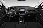 Stock photo of straight dashboard view of 2017 Mitsubishi Outlander GT 5 Door SUV Dashboard