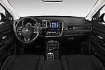 Stock photo of straight dashboard view of 2017 Mitsubishi Outlander GT 5 Door SUV Dashboard