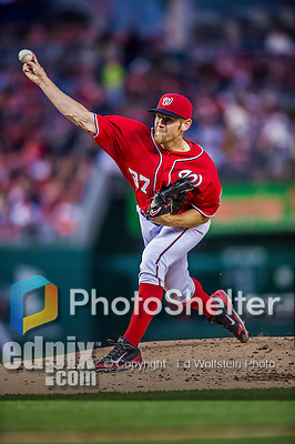 5 April 2014: Washington Nationals starting pitcher Stephen Strasburg on the mound against the Atlanta Braves at Nationals Park in Washington, DC. The Braves defeated the Nationals 6-2 to take the second game of their 3-game series. Mandatory Credit: Ed Wolfstein Photo *** RAW (NEF) Image File Available ***