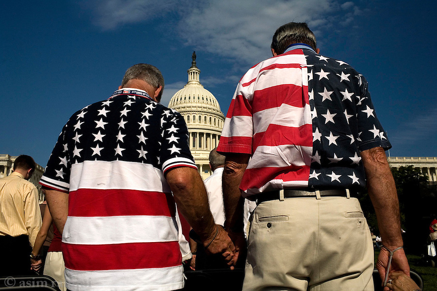 At a National Day of Prayer event outside the Capitol Building - the day is a Judeo-Christian event that was approved by the congress some years ago.  Managed by Shirley Dobson, of the Focus on the Family connection, it highlights Judeo-Christian celebrations asking other religions to not participate if they are not prepared to celebrate America's &quot;christian' traditions<br />