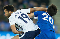 Mousa Dembele of Tottenham catches Shinji Okazaki of Leicester City in the face with his arm during the Premier League match between Leicester City and Tottenham Hotspur at the King Power Stadium, Leicester, England on 28 November 2017. Photo by James Williamson / PRiME Media Images.