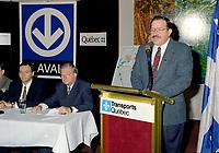 FILE -  Jacques Brassard lors de l'Annonce du prolongement du metro vers Laval, le 8 Octobre 1998<br /> <br /> <br /> PHOTO : Agence Quebec Presse