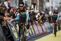 Silvan Dillier (SUI/AG2R-La Mondiale) pre race team presentation<br /> <br /> 103rd Ronde van Vlaanderen 2019<br /> One day race from Antwerp to Oudenaarde (BEL/270km)<br /> <br /> ©kramon
