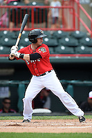 Erie Seawolves catcher Craig Albernaz (1) at bat during a game against the Binghamton Mets on July 13, 2014 at Jerry Uht Park in Erie, Pennsylvania.  Binghamton defeated Erie 5-4.  (Mike Janes/Four Seam Images)