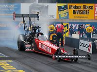 Sep 14, 2018; Mohnton, PA, USA; NHRA top fuel driver Richie Crampton during qualifying for the Dodge Nationals at Maple Grove Raceway. Mandatory Credit: Mark J. Rebilas-USA TODAY Sports