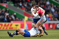 James Lang of Harlequins is double-tackled. Aviva Premiership match, between Harlequins and Bath Rugby on March 2, 2018 at the Twickenham Stoop in London, England. Photo by: Patrick Khachfe / Onside Images