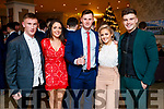 Brian Sugrue, Sadie O'Sullivan, James Walsh, McKenzie Keane and Ivan Parker, pictured at the Kerry GAA awards held at The Rose Hotel, Tralee on Saturday night last.