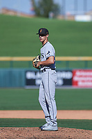 Surprise Saguaros relief pitcher Spencer Jones (48), of the Tampa Bay Rays organization, delivers a pitch to the plate during a game against the Mesa Solar Sox on October 20, 2017 at Sloan Park in Mesa, Arizona. The Solar Sox walked-off the Saguaros 7-6.  (Zachary Lucy/Four Seam Images)