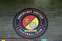 The club badge on the wall of the main stand at the Kuflink stadium before Ebbsfleet United vs Notts County, Vanarama National League Football at The Kuflink Stadium on 24th August 2019