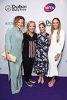 LONDON, UK. June 28, 2019: Katerina Siniakova, Martina Navratilova, Chris Evert & Caroline Wozniacki arriving for the WTA Summer Party 2019 at the Jumeirah Carlton Tower Hotel, London.<br /> Picture: Steve Vas/Featureflash