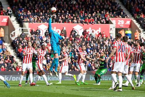 02.04.2016. Britannia Stadium, Stoke, England. Barclays Premier League. Stoke City versus Swansea City.  Stoke City goalkeeper Jakob Haugaard punches the ball away.