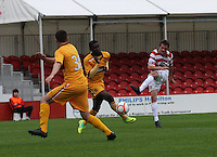 Louis Longridge has a shot as Zaine Francis-Angol turns away in the Hamilton Academical v Motherwell friendly match played at New Douglas Park, Hamilton on 24.7.12..