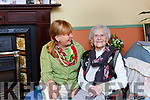 Hannah O'Shea Killarney celebrating her 104th birthday on with Breda Joy on Monday