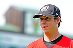 2 July 2011: Tri-City ValleyCats infielder Matthew Duffy warms up prior to facing the Vermont Lake Monsters at Centennial Field in Burlington, Vermont. Duffy, a former University of Vermont Catamount baseball player, returns to Centennial Field for his first professional series against the home town Lake Monsters. The Monsters rallied from a 4-2 deficit to defeat the ValletCats 7-4 in NY Penn League action. Mandatory Credit: Ed Wolfstein Photo
