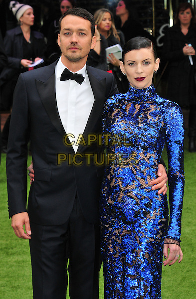 Rupert Sanders & Liberty Ross.The World Premiere of 'Snow White And The Huntsman', Empire Leicester Square, London, England..14th May 2012.half length dress blue beads beaded black tuxedo married husband wife.CAP/WIZ.© Wizard/Capital Pictures.