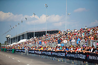 Sep 29, 2019; Madison, IL, USA; NHRA fans in the grandstands during the Midwest Nationals at World Wide Technology Raceway. Mandatory Credit: Mark J. Rebilas-USA TODAY Sports