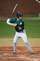 Siena Saints left fielder Alex Tuccio (20) at bat during a game against the Stetson Hatters on February 23, 2016 at Melching Field at Conrad Park in DeLand, Florida.  Stetson defeated Siena 5-3.  (Mike Janes/Four Seam Images)