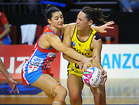 Sharni Layton marks Pulse goal attack Jodi Brown during the ANZ Netball Championship match between the Central Pulse and NSW Swifts at TSB Bank Arena, Wellington, New Zealand on Saturday, 25 April 2015. Photo: Dave Lintott / lintottphoto.co.nz