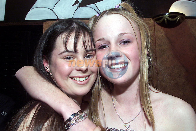 Emma McEvoy, Rosevale and Siobhan Flannagan, Rockville enjoy the teenage disco in Kiss nightclub in the Boyne Valley hotel..pic:Arthur Carron/ Newsfile