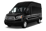 2019 Ford Transit Wagon 350 XLT Wagon High Roof Pass Slide 148WB 5 Door Passenger Van angular front stock photos of front three quarter view