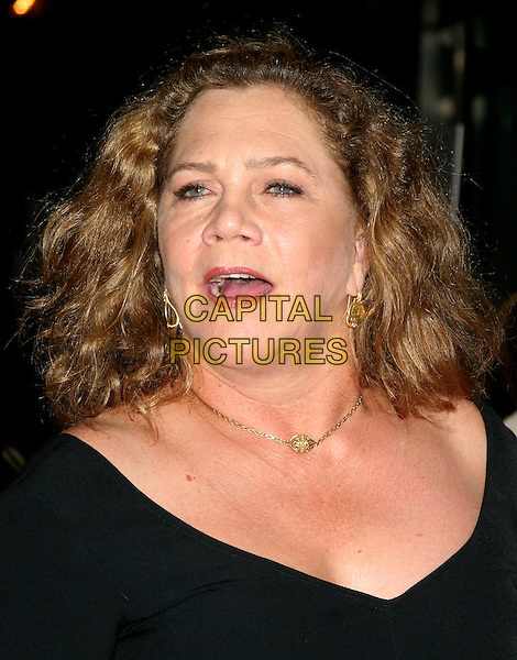 "KATHLEEN TURNER.""The Constant Gardener"" New York Premiere,.Loews Lincoln Square, .New York City, 8th August 2005.portrait headshot v-neck black dress gold chain necklace earrings mouth open.www.capitalpictures.com.sales@capitalpictures.com.©Capital Pictures"