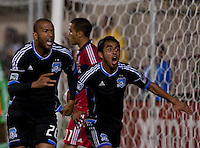 Santa Clara, California - Saturday July 28, 2012: San Jose Earthquakes' Victor Bernardez and Rafael Baca screaming at linesman for a hand ball during a game at Buck Shaw Stadium, Stanford, Ca    San Jose Earthquakes and Chicago Fire tied 0 - 0