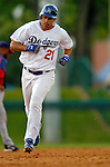 19 March 2006: Ricky Ledee, outfielder for the Los Angeles Dodgers, runs the bases during a Spring Training game against the Washington Nationals at Holeman Stadium, in Vero Beach, Florida. The Dodgers defeated the Nationals 9-1 in Grapefruit League play...Mandatory Photo Credit: Ed Wolfstein Photo..
