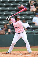 Hickory Crawdads catcher Melvin Novoa (32) bats during the game with the Charleston Riverdogs at L.P. Frans Stadium on May 12, 2019 in Hickory, North Carolina.  The Riverdogs defeated the Crawdads 13-5. (Tracy Proffitt/Four Seam Images)