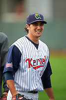 Cedar Rapids Kernels pitcher Michael Theofanopoulos (43) before a game against the Kane County Cougars on August 18, 2015 at Perfect Game Field in Cedar Rapids, Iowa.  Kane County defeated Cedar Rapids 1-0.  (Mike Janes/Four Seam Images)
