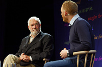 Pictured: Robin Knox-Johnston talks to Matthew Stadlen. Friday 31 May 2019<br /> Re: Hay Festival, Hay on Wye, Wales, UK.