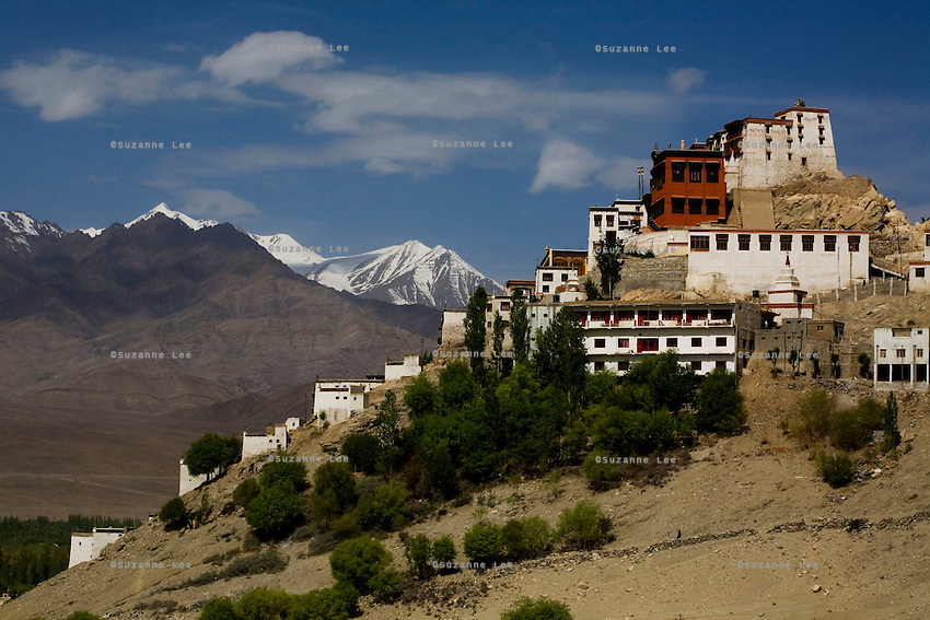 Thiksay Monastery on 1st June 2009, in Leh, Ladakh, in the state of Jammu & Kashmir, India. The gompa was founded in the 15th century, and sits on a hill 19 km southeast of Leh town. It houses approximately 100 monks. Photo by Suzanne Lee