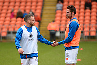 Blackpool's Jay Spearing and team-mate Clark Robertson warm up<br /> <br /> Photographer Richard Martin-Roberts/CameraSport<br /> <br /> The EFL Sky Bet League One - Blackpool v Walsall - Saturday 10th February 2018 - Bloomfield Road - Blackpool<br /> <br /> World Copyright &not;&copy; 2018 CameraSport. All rights reserved. 43 Linden Ave. Countesthorpe. Leicester. England. LE8 5PG - Tel: +44 (0) 116 277 4147 - admin@camerasport.com - www.camerasport.com