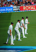 From left, Ross Taylor,  Mark Craig, Jimmy Neesham and Kane Williamson stand in the slips during day one of the 2nd cricket test match between the New Zealand Black Caps and Sri Lanka at the Hawkins Basin Reserve, Wellington, New Zealand on Saturday, 3 February 2015. Photo: Dave Lintott / lintottphoto.co.nz