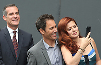 UNIVERSAL CITY, CA - AUGUST 02: Eric Garcetti, Eric McCormack, Debra Messing, At 'Will & Grace' Start Of Production Kick Off Event And Ribbon Cutting Ceremony At Universal City Plaza  In California on August 02, 2017. Credit: FS/MediaPunch
