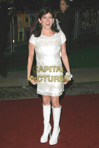 """EMMA FREUD.""""The Boat That Rocked"""" world film premiere at The Odeon, Leicester Square, London, England..March 23rd, 2009.full length white dress leather platform boots patent knee high lace sheer sixties sequins sequined .CAP/AH.©Adam Houghton/Capital Pictures."""
